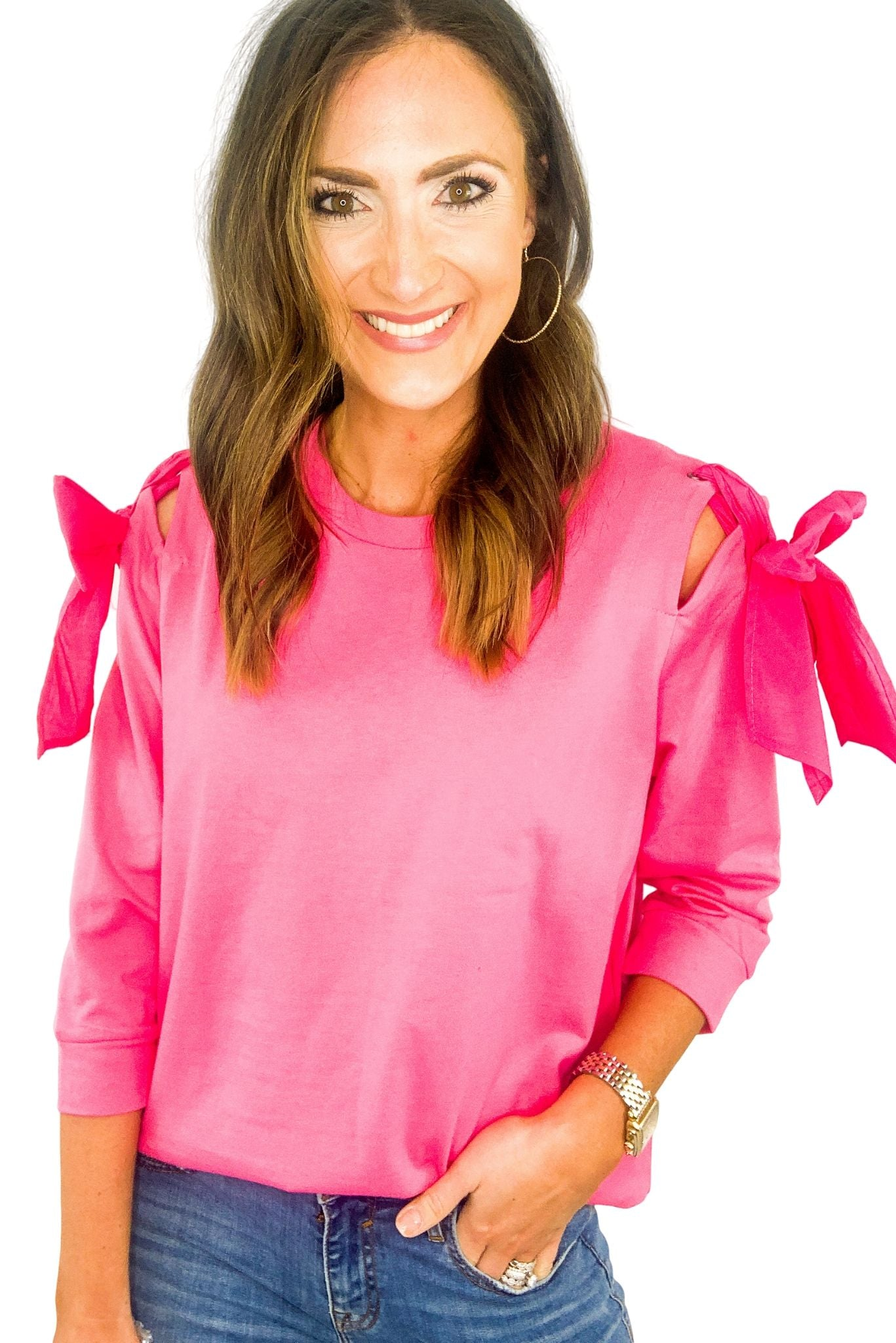 Pink French Terry Top w/ Bow Shoulders