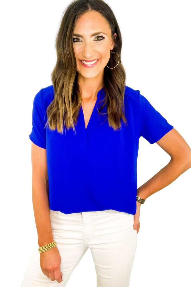 Royal Blue Short Sleeve V Neck Top