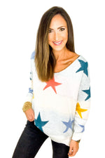 V Neck Star Sweater w/ Scallop Hem