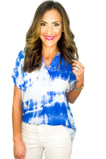 Blue Tie Dye Short Sleeve Collard Top