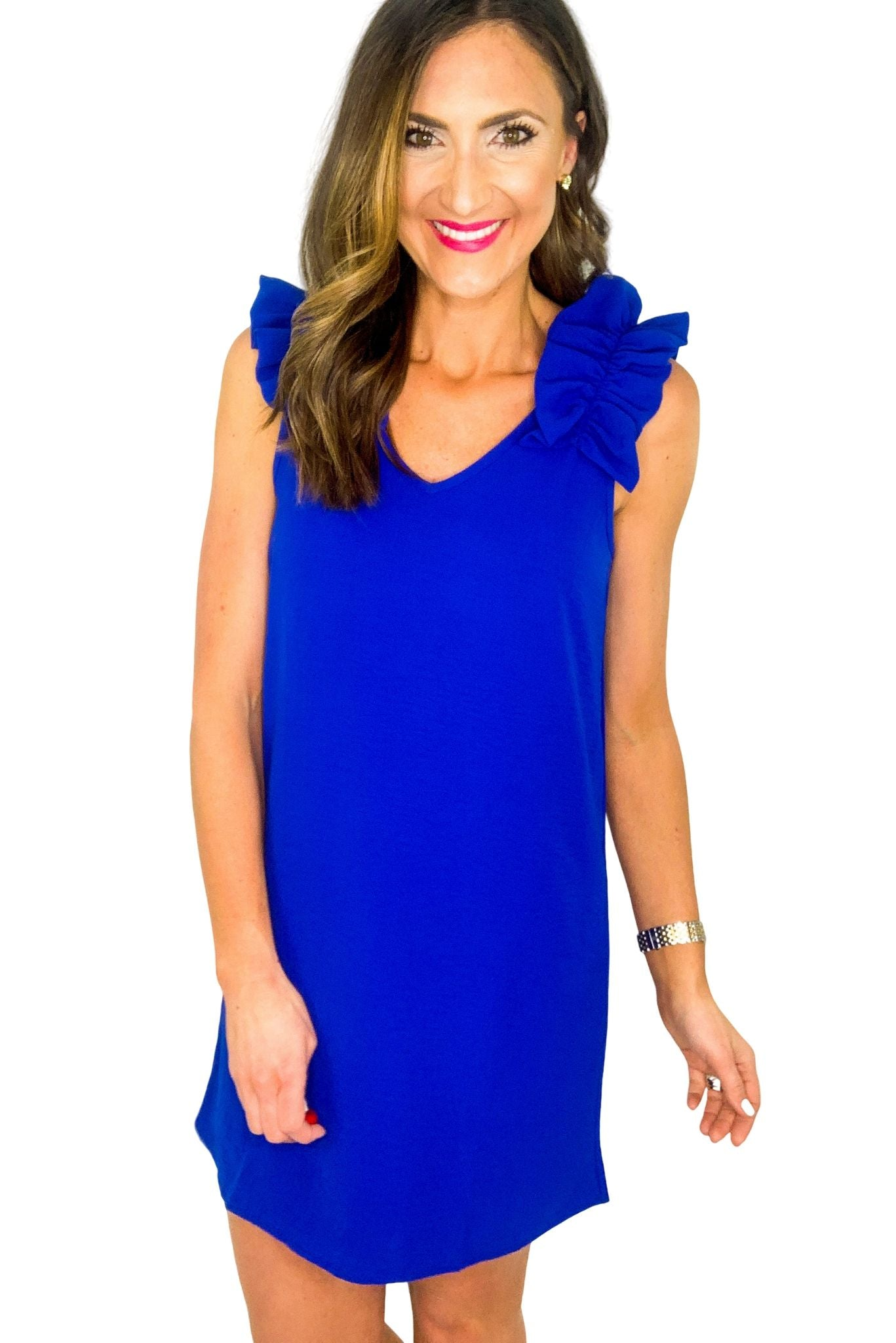 Royal Blue Ruffle Shoulder Sleeveless Dress