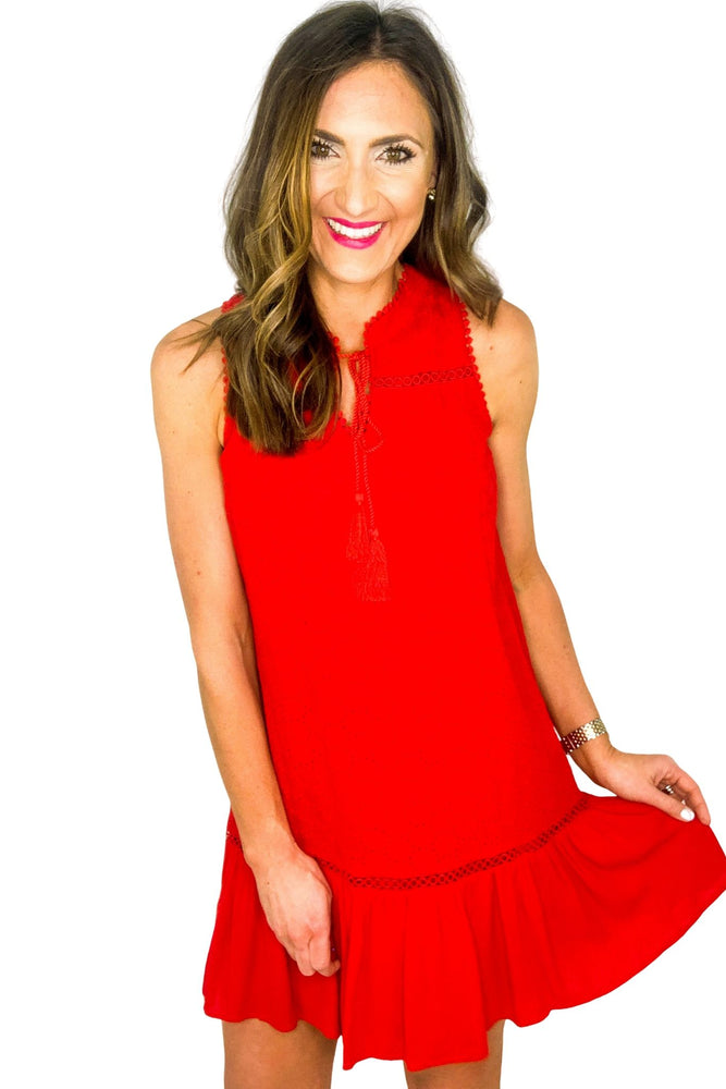 Red Eyelet Sleeveless Dress