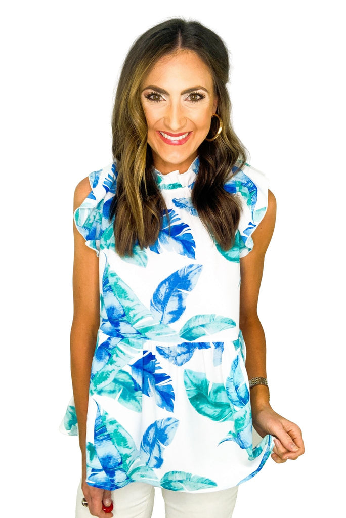 Tropical Print Mock Neck Ruffle Top