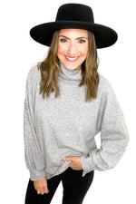 Heather Grey Balloon Sleeve Cowl Neck Brushed Thermal *FINAL SALE*