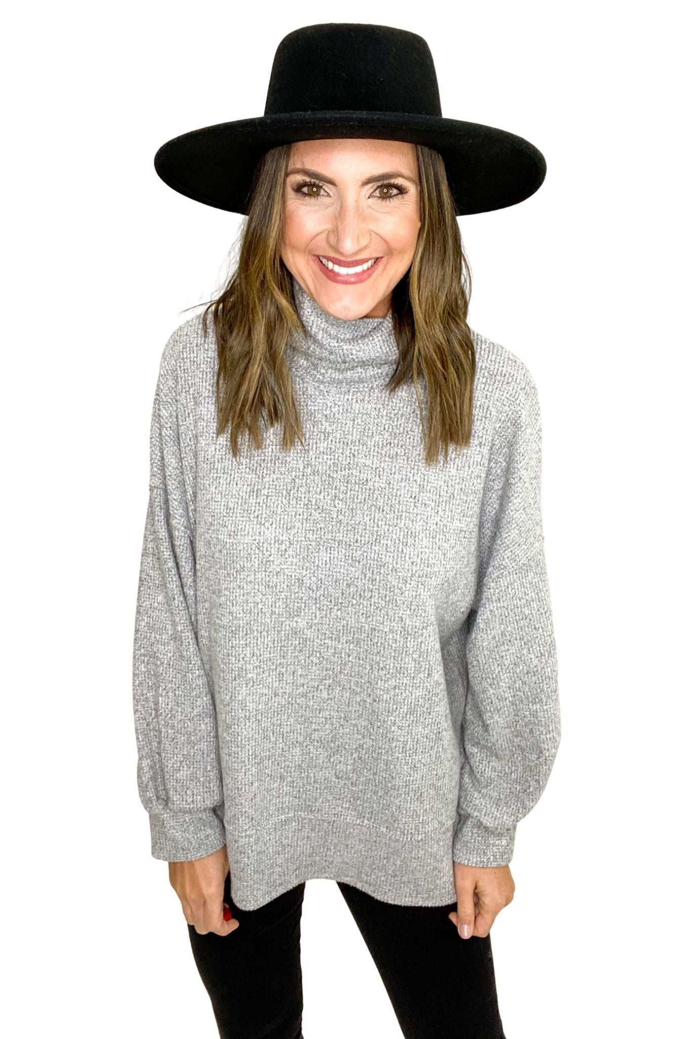 Heather Grey Balloon Sleeve Cowl Neck Brushed Thermal