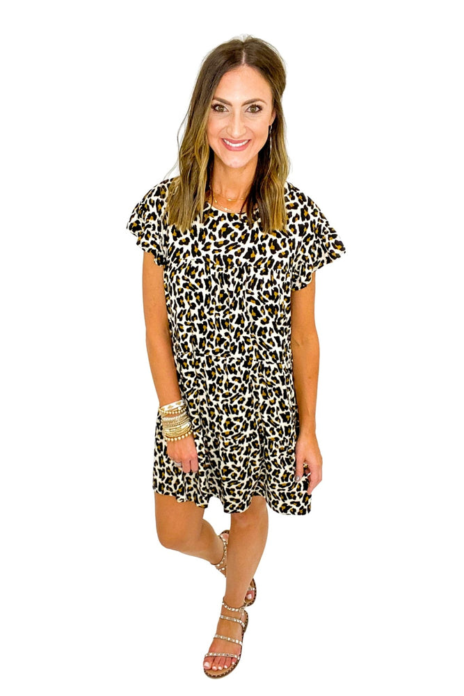 Animal Print Babydoll Dress w/ Ruffle Sleeves