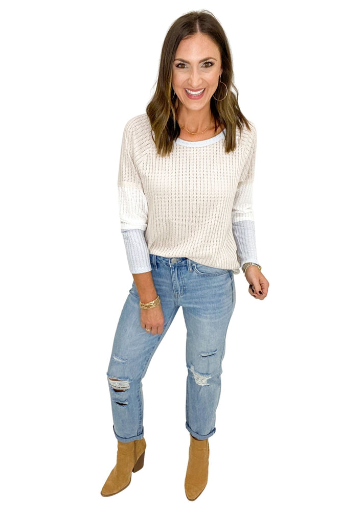 Color Block Lightweight Ribbed Sweater