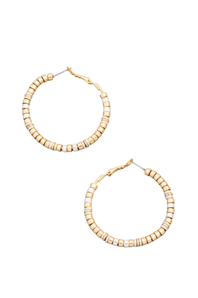 Mixed Metal Cylinder Bead Hoop Earrings