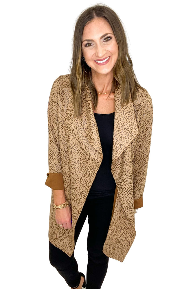 Brown Mini Animal Print Blazer Coat