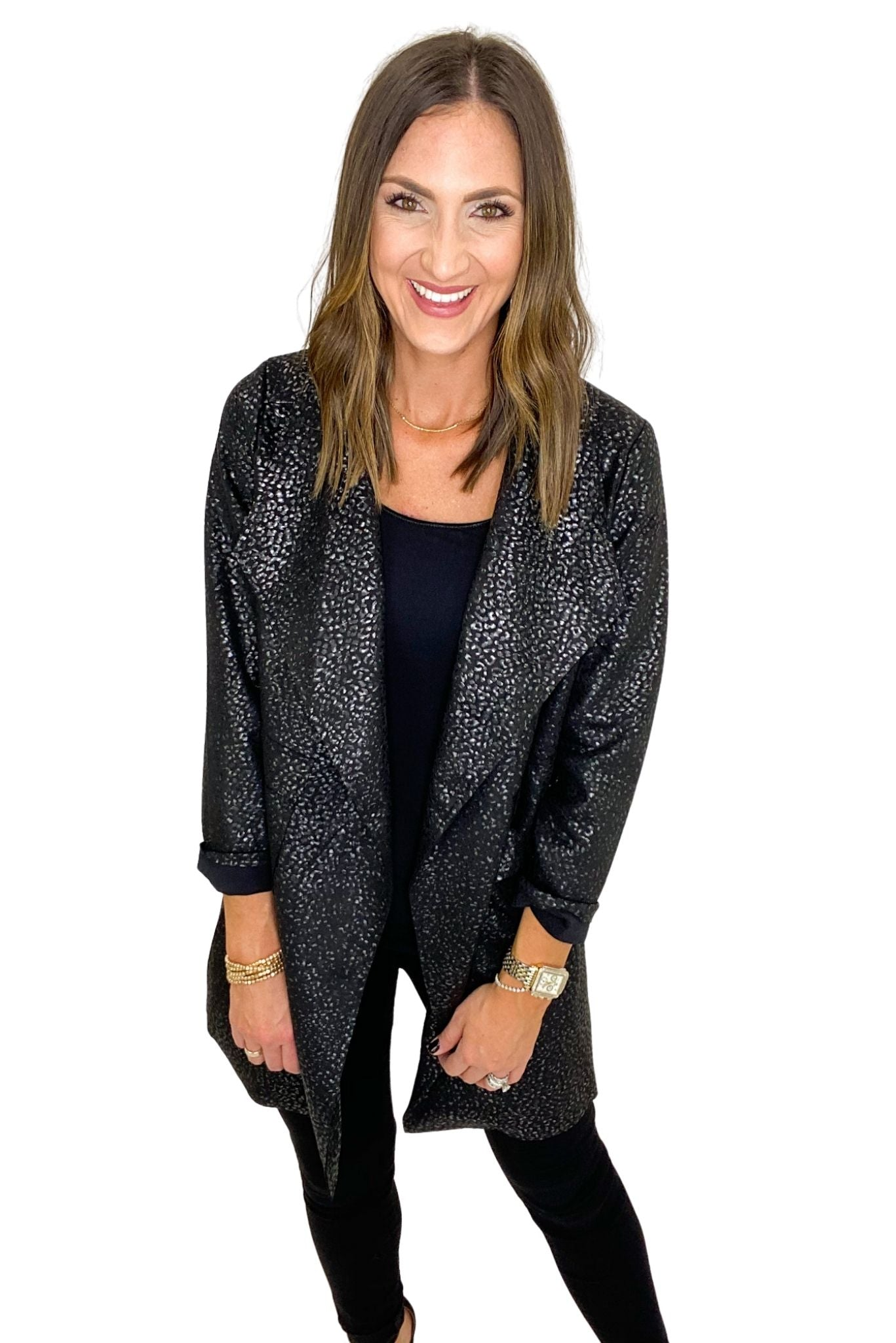 Black Mini Animal Print Blazer Coat