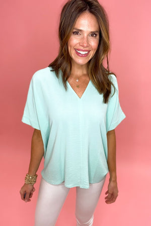 seafoam v neck top with cuffed sleeves, signature top, spring colors, shop style your senses by mallory fitzsimmons