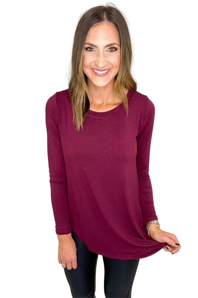 Load image into Gallery viewer, Wine Long Sleeve Hi Low Tee *FINAL SALE*
