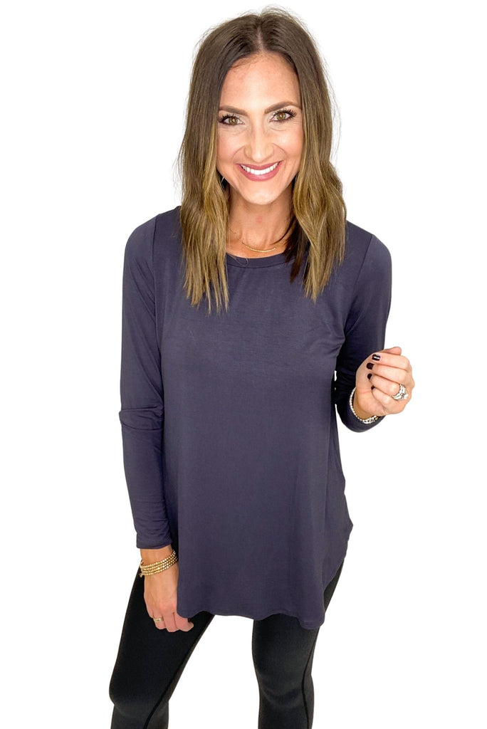 Charcoal Long Sleeve Hi Low Tee
