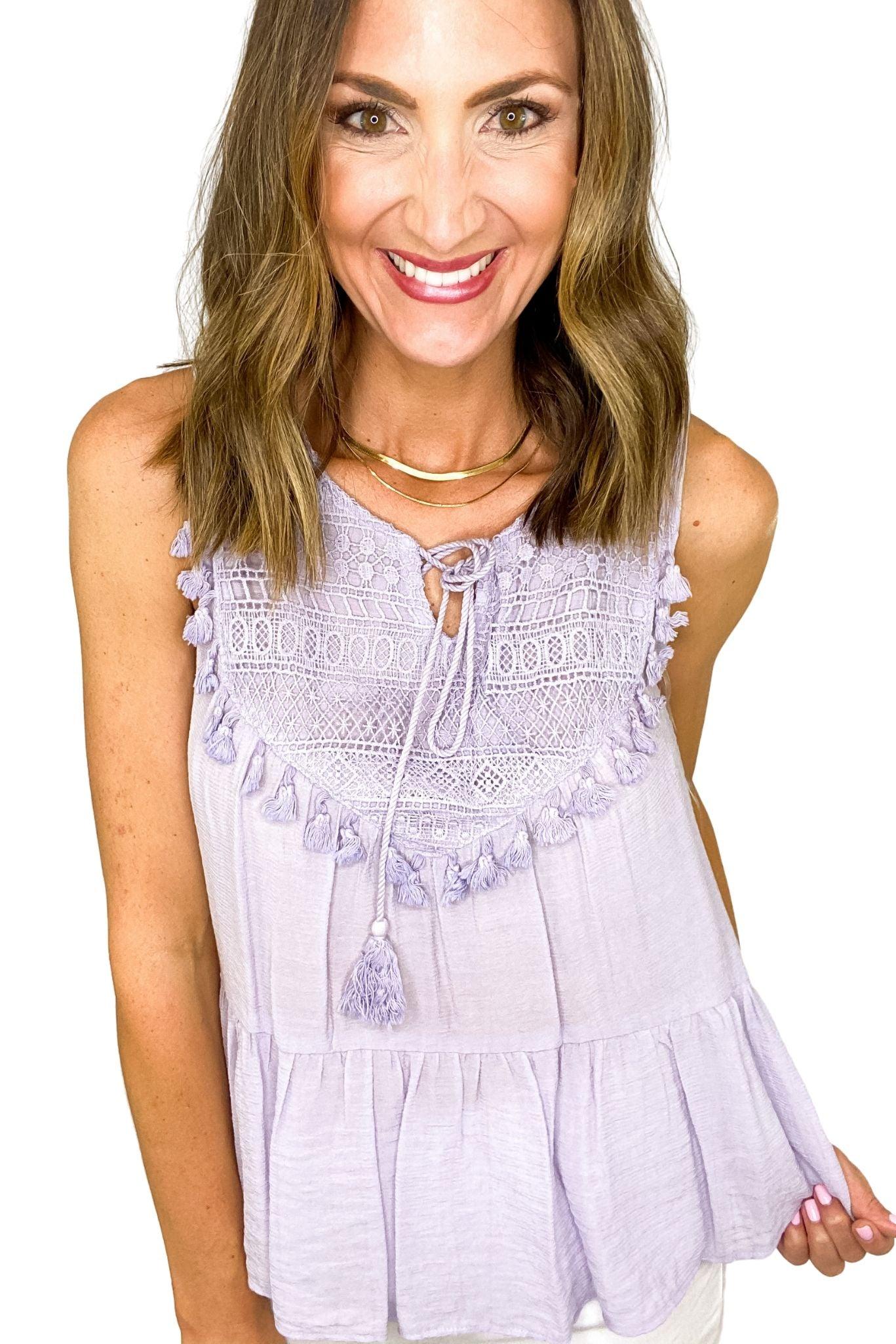 Lavender Lace and Tassel Top *FINAL SALE*