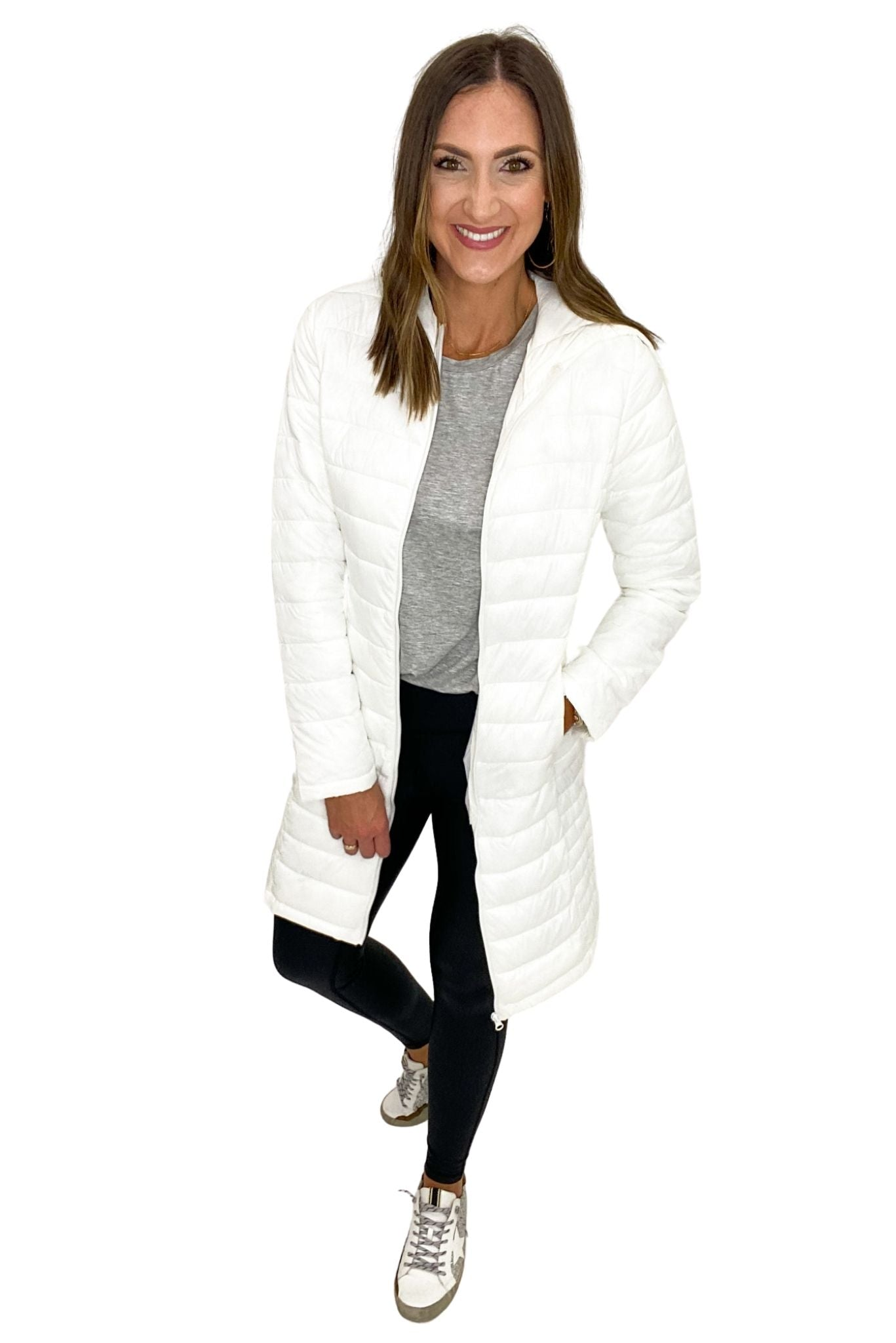 White Mid Length Puffer Jacket