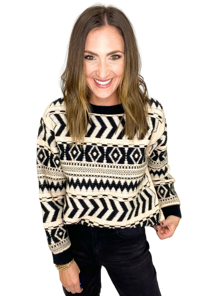 Black and Cream Tribal Sweater
