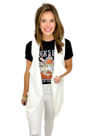 white long waterfall vest, white skinny jeans, band tees, shop style your senses by mallory fitzsimmons