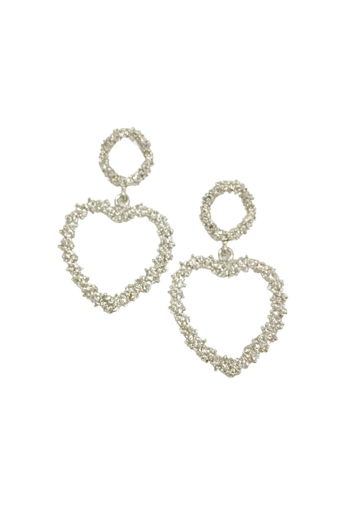 Textured Silver Heart Earring w/ Stud