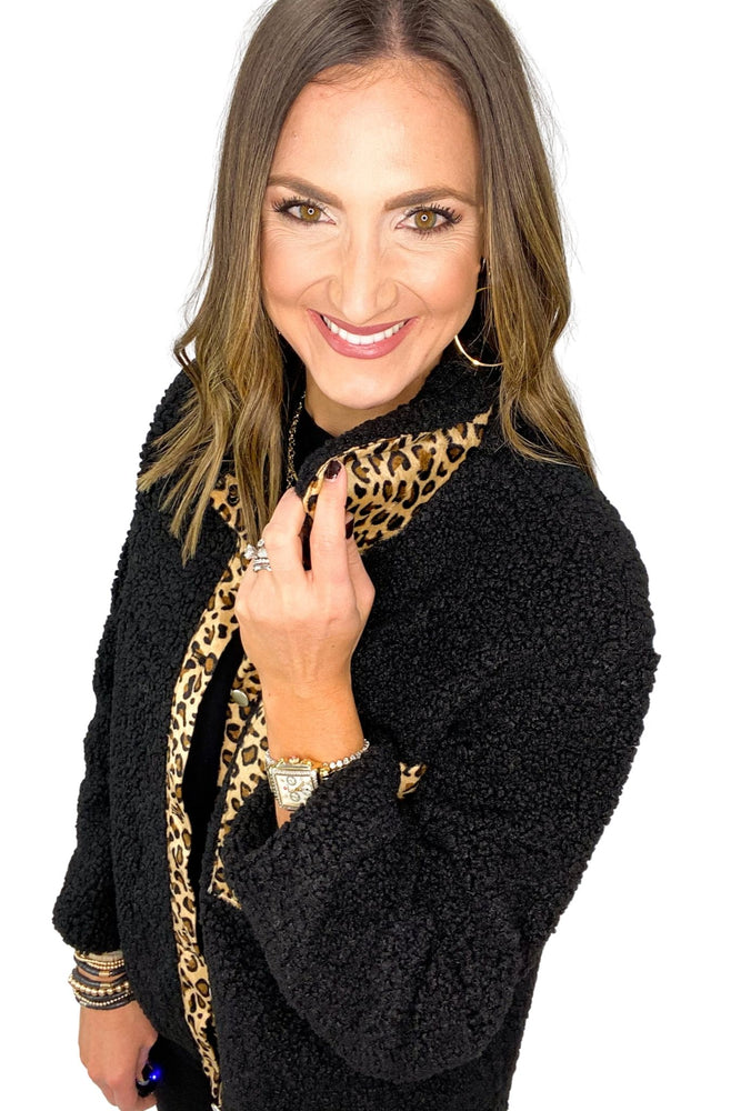 Black Fleece Jacket w/ Animal Print Trim