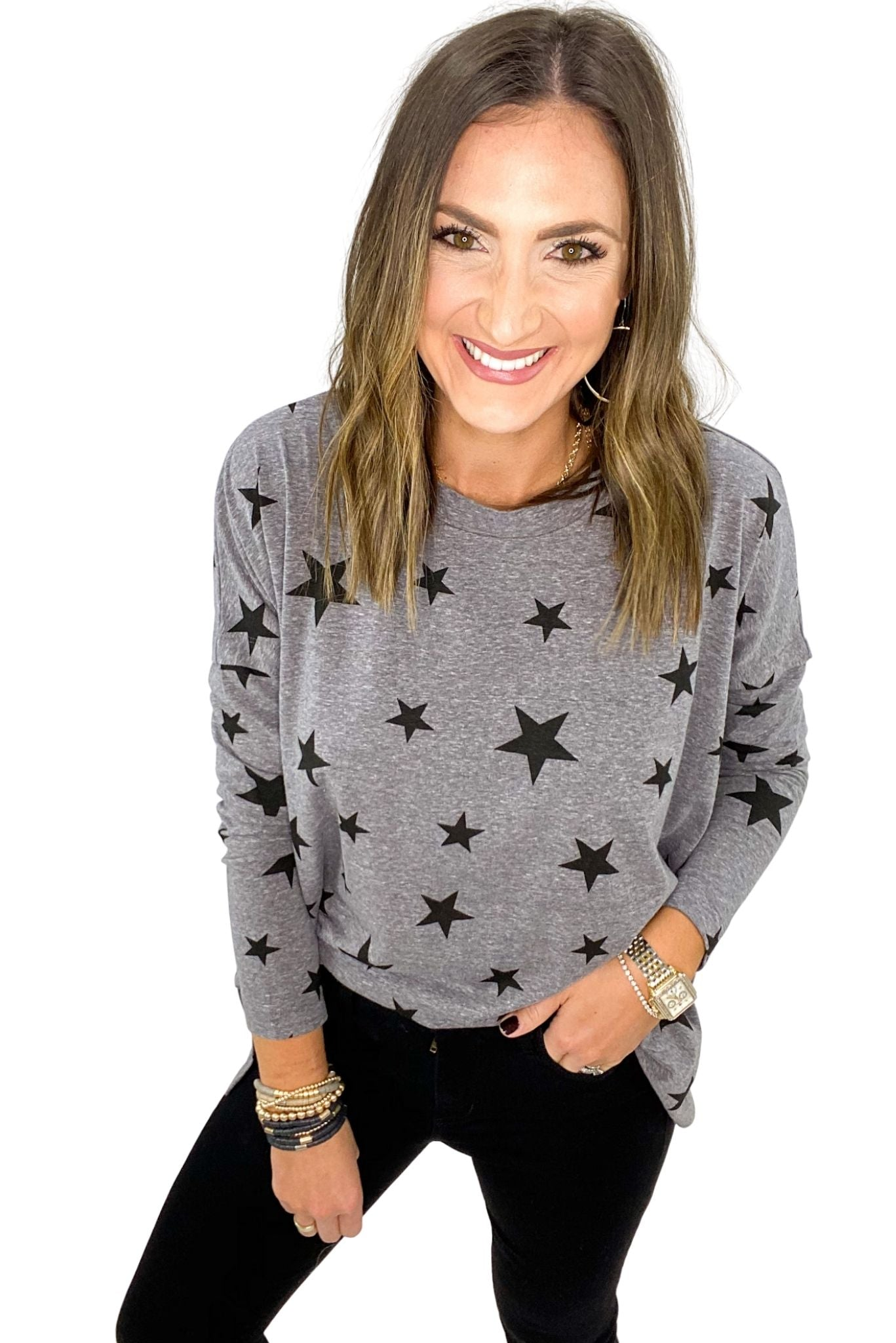 Heather Grey Long Sleeve Tee w/ Stars