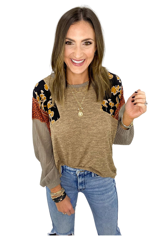 Heathered Taupe Top w/ Mixed Pattern Sleeves *FINAL SALE*