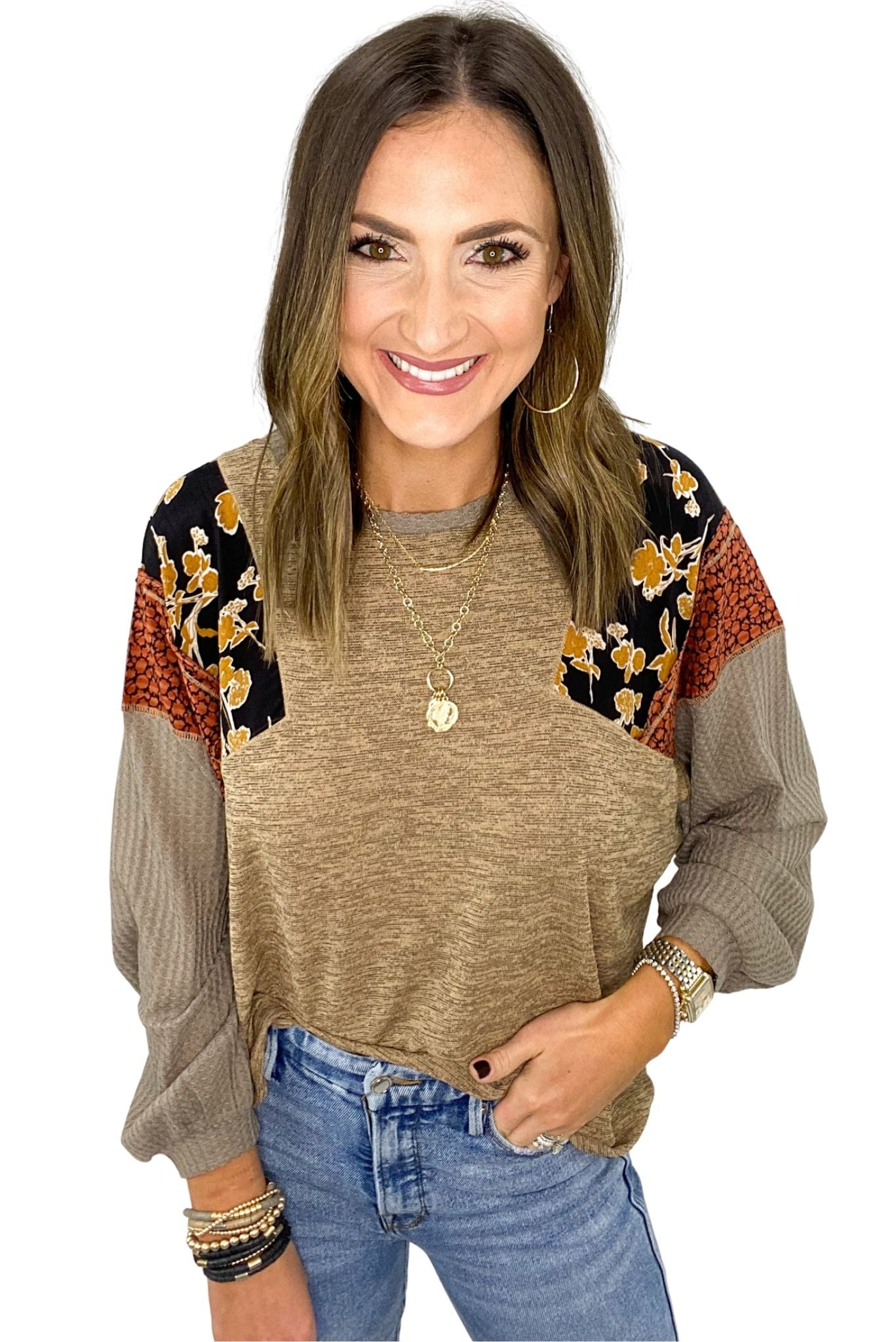Heathered Taupe Top w/ Mixed Pattern Sleeves