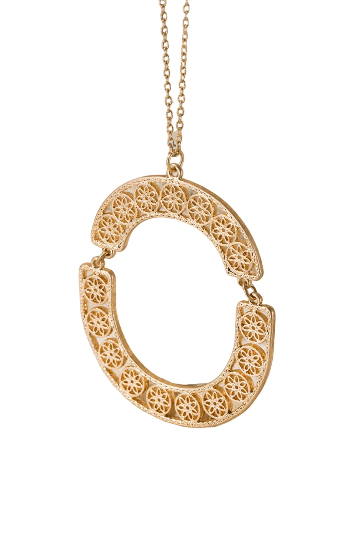 Gold Long Filigree Necklace