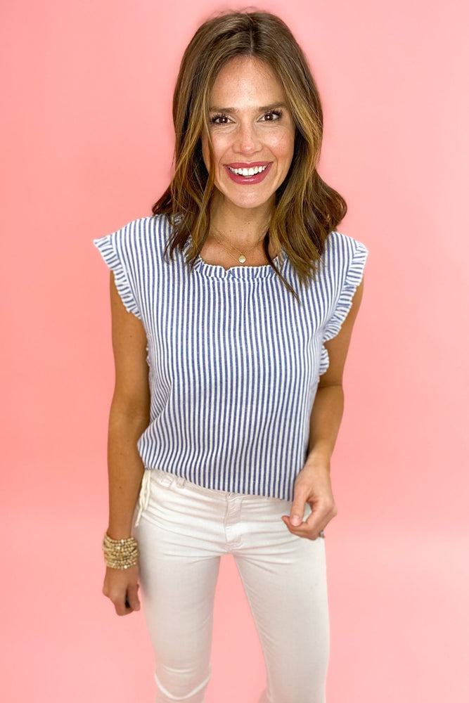 blue and white stripe top with ruffle hem, white skinny jeans, spring tops, shop style your senses by mallory fitzsimmons