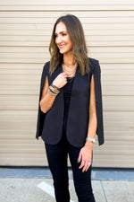 Black Side Slit Cape Jacket