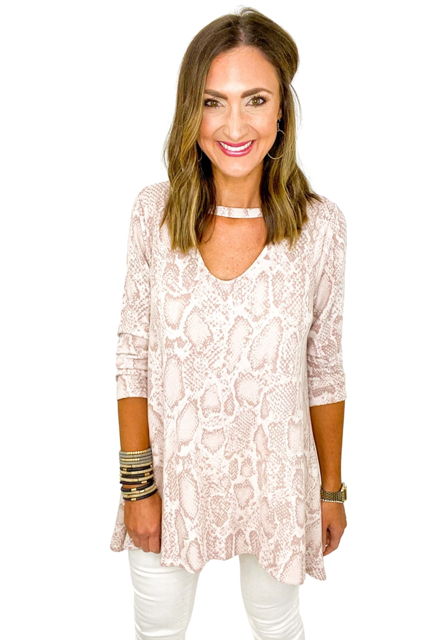 Pink Scale Print Tunic w/ Keyhole V Neck