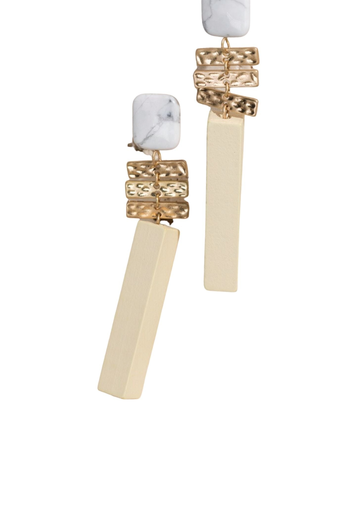 Wood and Gold Statement Earrings w/ Howlite Stone