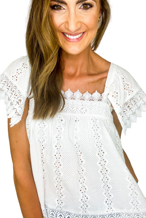 White Eyelet Square Neck Top *FINAL SALE*