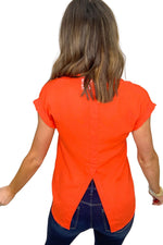 orange red cap sleeve button down top, skinny jeans, spring tops, shop style your senses by mallory fitzsimmons