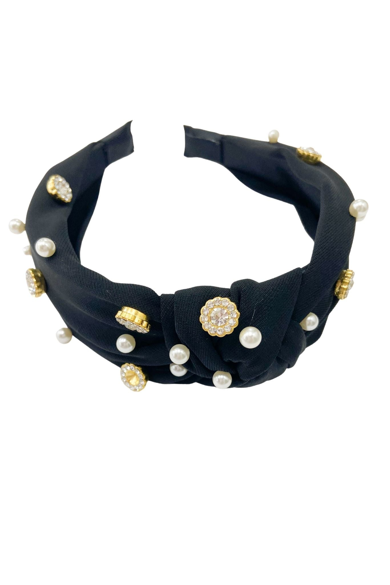 Black Headband w/ Pearl and Rhinestone Accents