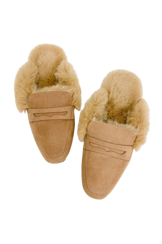 Load image into Gallery viewer, Tan Faux Fur Lined Mules