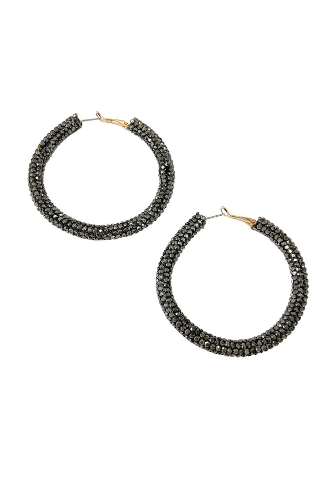 Gunmetal Rhinestone Hoop Earrings