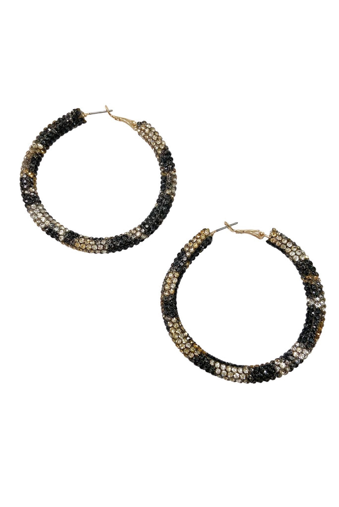 Animal Print Rhinestone Hoop Earrings