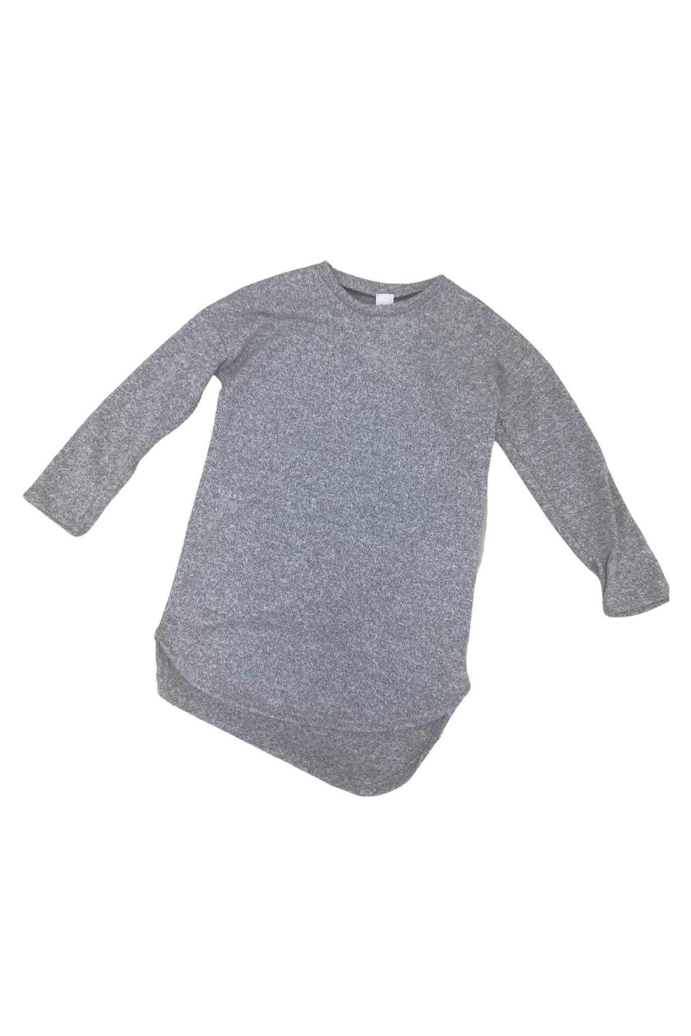 Kids Grey Brushed High Low Long Sleeve Tunic