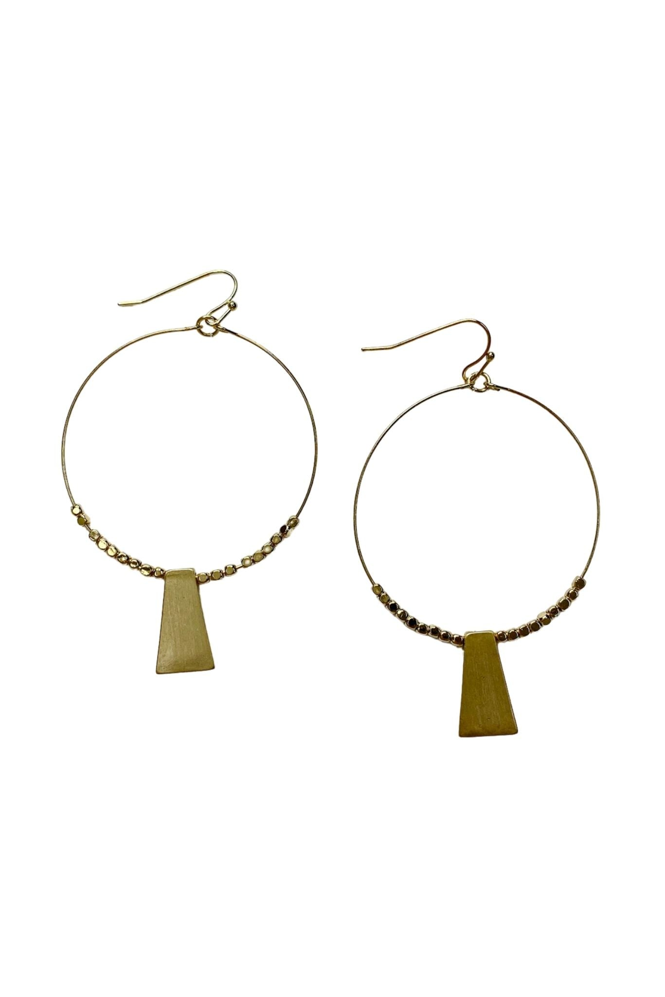 Gold Hoop Earrings w/ Trapezoid Charm and Beads