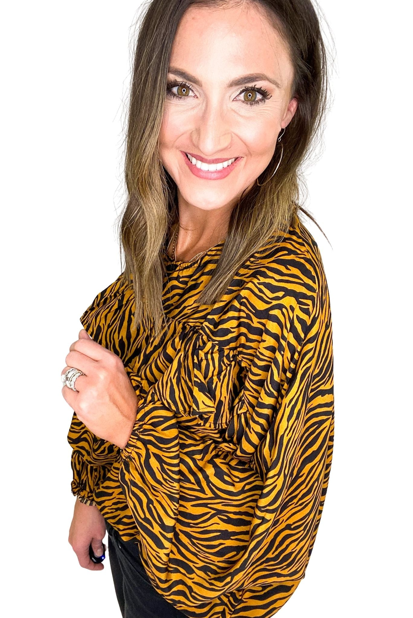 Stripe Animal Print Top w/ Ruffle Detail