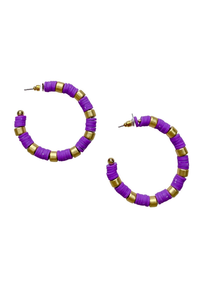 Load image into Gallery viewer, Purple Gold Disc Hoop Earrings