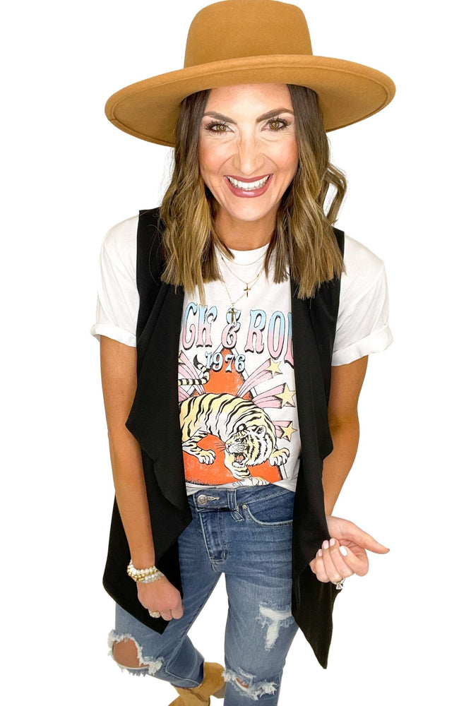 black long waterfall vest, distressed jeans, graphic tees, shop style your senses by mallory fitzsimmons