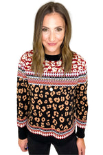 Animal Print With Color Block Print Sweater