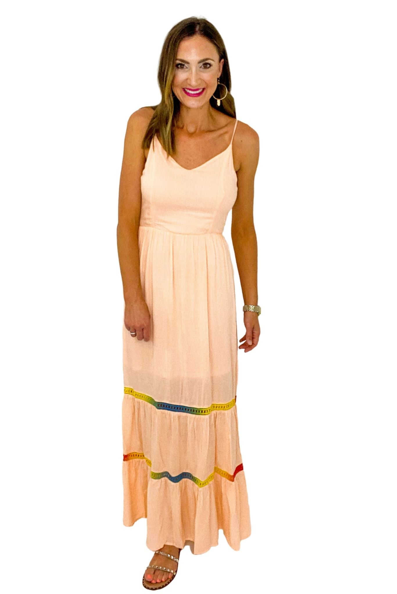 Peach Tiered Maxi Dress w/ Rainbow Crochet Detail *FINAL SALE*