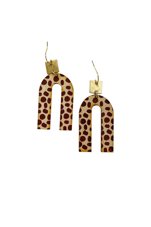Load image into Gallery viewer, Wooden Spotted Horseshoe Earrings