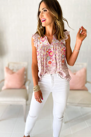 lavender animal print flutter sleeve top with embroidery, white skinny jeans, spring and summer tops, shop style your senses by mallory fitzsimmons