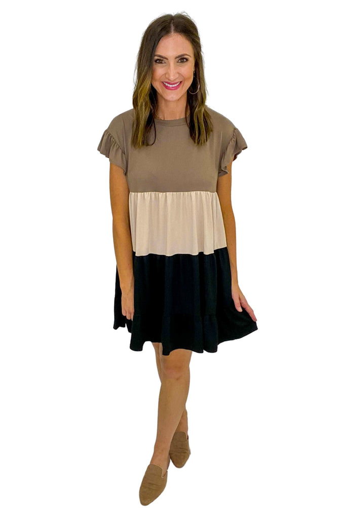 Neutral Color Block Babydoll Dress w/ Ruffle Sleeves