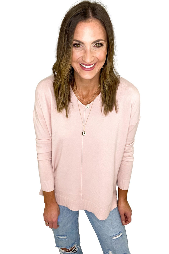 Dusty Pink Lightweight V Neck Sweater