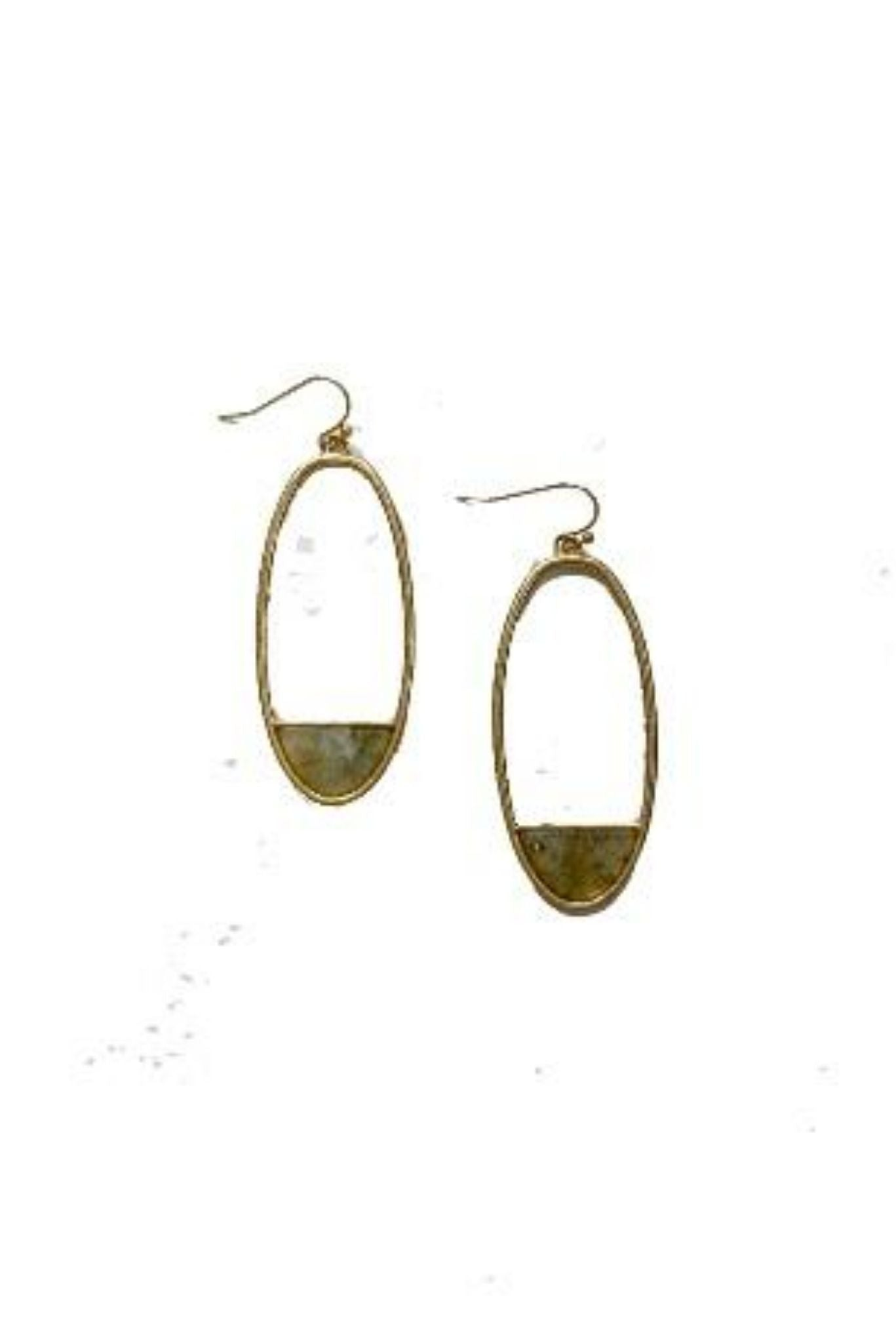 Gold Oval Earrings w/ Small Grey Stone