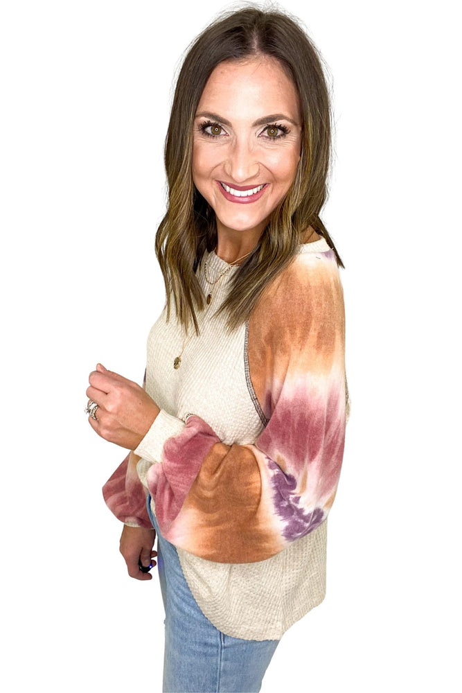Tan Waffle Knit Top w/ Pink Tie Dye Balloon Sleeves *FINAL SALE*